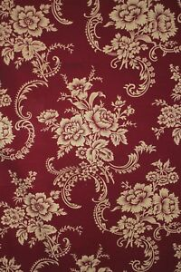 Antique-Fabric-Red-Floral-French-Textile-Fragment-circa-1900-cotton-material