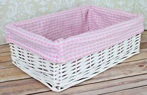 White Wicker Basket Pink Gingham