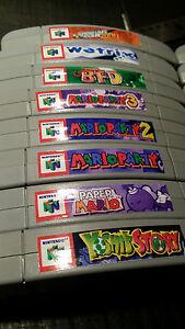 Nintendo N64 Cartridge Spine Top End Labels - ALL U.S. GAMES
