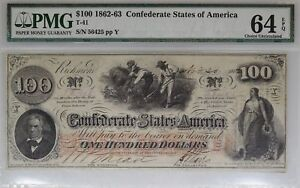 1862-63-100-Confederate-Currency-T-41-PMG-64-EPQ-Choice-Unc-I-9939
