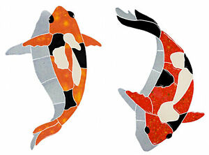Mosaic koi fish w shadow and lily pads for swimming pool for Koi fish pool table