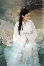 China Hanfu Tang Dynasty Dress Gothic Lolita Cosplay Costume Snow white Kimono