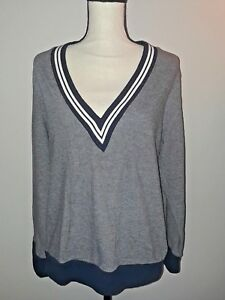 2c8f7e77927 Stylus Womens Size L V-Neck Navy Blue White Striped Long Sleeve Top ...