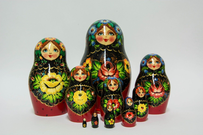 Nesting Dolls Russian Wooden Art 10 Piece 55 Matryoshka Handmade