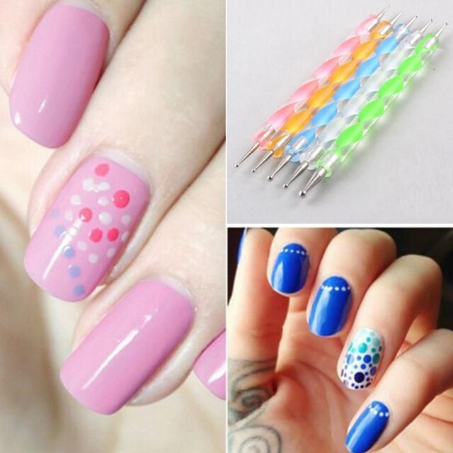5pcs/set 2way Marbleizing Dotting Manicure Tools Painting Dot Pen ...