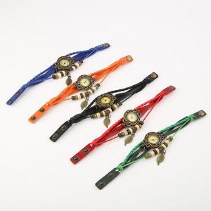 Women-New-Design-Retro-Leather-Bracelet-leaf-Decoration-Quartz-Wrist-Watch-Gift