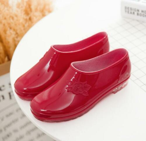 Womens Low Top Waterproof Ankle Rain Boots Low Heels Slip on PVC Antiskid Shoes
