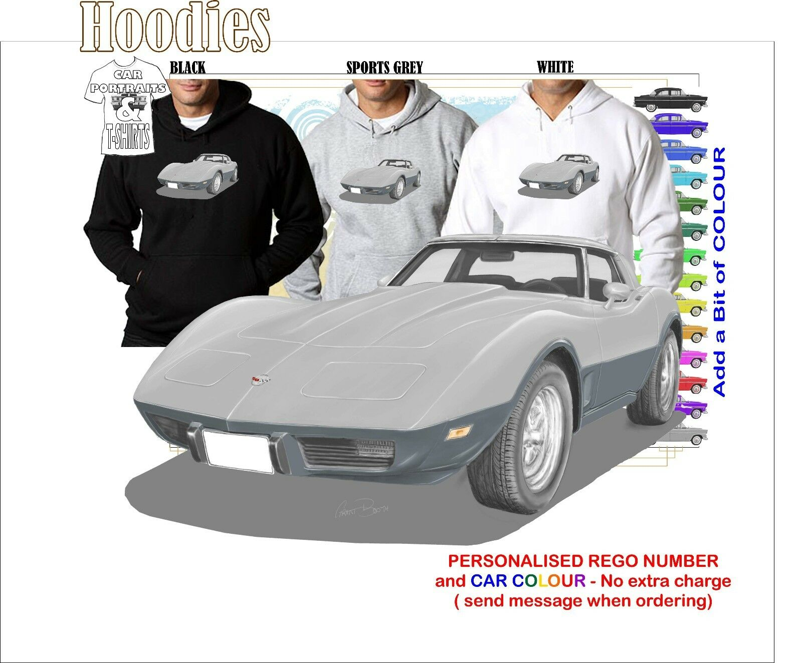 78 CORVETTE STINgrau 25 ANNIVERSARY HOODIE ILLUSTRATED CLASSIC RETRO MUSCLE CAR