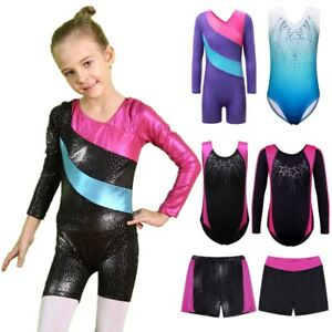 a5324f0d4239 3-12Y Girls Blingbling Ballet Leotards Gymnastics Shorts Dancewear ...