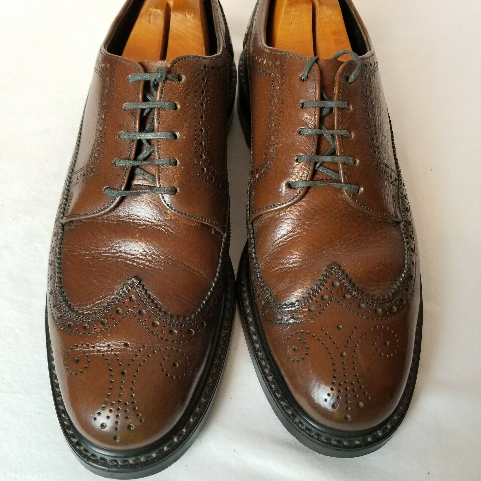 VINTAGE Rand Mens Shoes Size 7.5D Brown Long Wing Tip Derby V cleated heel