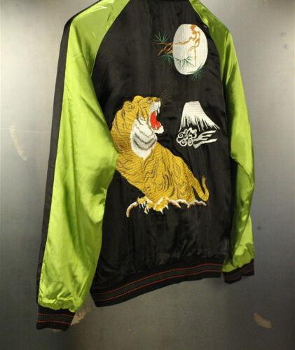 Mens CROWS WORST Sukajan Souvenir Jacket Japanese Pattern Embroidery Moon Tiger