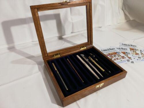 Cofanetto per 10 Penne da collezione vetrinetta in legno Castagno interno Blu