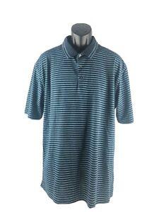 Nike-Golf-DRI-FIT-Men-039-s-Polyester-Polo-Shirt-Blue-Striped-Short-Sleeve-Size-XL