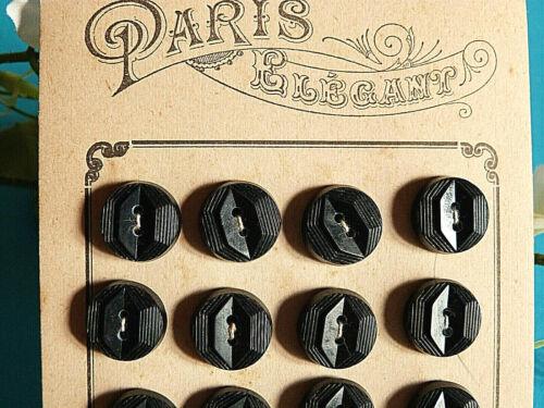 """ART DÉCO 007C// SUPERBE PLAQUE DE 24 BOUTONS ANCIENS /"""" PARIS ÉLÉGANT /"""" NOIR ÉP"""