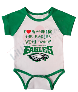 finest selection 79ecb 5a479 Details about Philadelphia Eagles Jersey Baby Shirt Bodysuit Love Watching  with Daddy