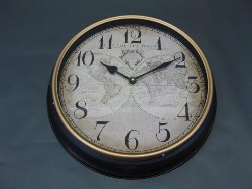 Große Metall Wanduhr 30 cm Nostalgie Uhr Antikstil  Weltkarte Loft Bahnhofsuhr