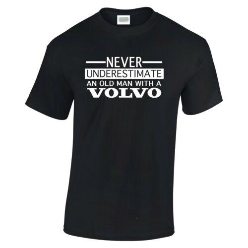 Volvo Ne sous-Estimez jamais un vieil homme t shirt noir ou blanc texte à 3XL V2