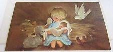 Unused Vtg Christmas Card Cute Angel Holding Baby Jesus w Dove Lamb & Birds