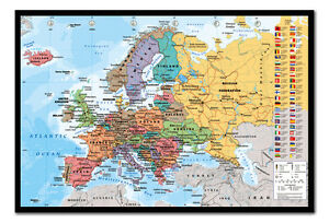 European Map Pinboard Large Framed Cork Board With Pins Ready To - Large framed magnetic world map