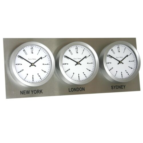 Roco Verre Time Zone 3 Dial Wall Clocks 18cm Stainless Steel Backplate