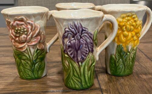 "4 Coffee/ Tea Mugs Blue Traditional Handmade Pottery FLOWERS Floral 4.5"" Tall"