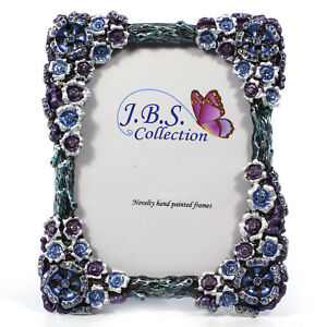 Bejeweled-flower-bouquet-antique-look-photo-frame-enamel-painted-w-crystals