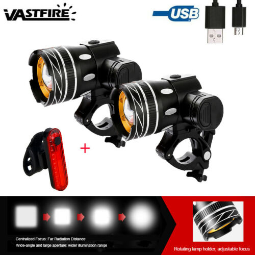 Zoomable T6 LED Front Light Headlamp Rechargeable Bike Headlight Warn Rear Lamp