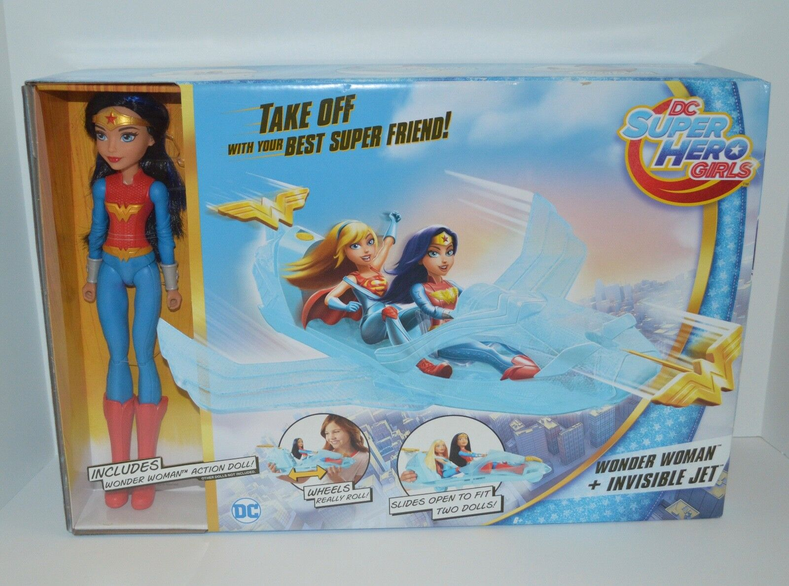 DC Superhero Girls Wonder Woman + Invisible Jet Action Doll Brand New With Box