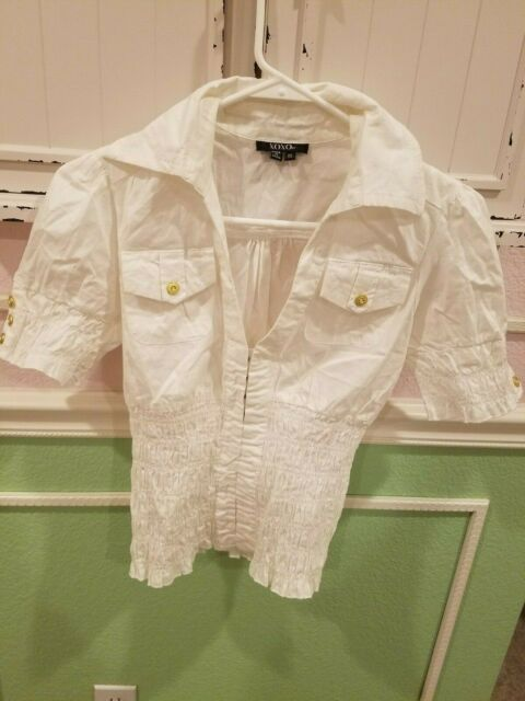 XOXO White Collared Top Clasp Buttons Top Short Sleeve Women XS