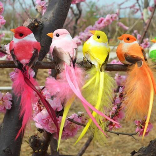 Artificial Foam Feather Bird Figurine Ornament Landscape Decor Sculptures a
