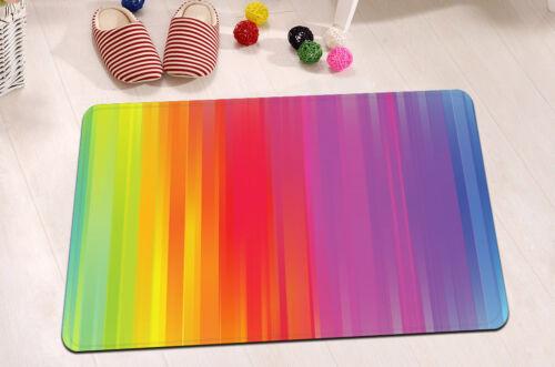 "72X72/""//72X79/""Bathroom Fabric Shower Curtain /& Mat/&12Hook--Rainbow Lines 3114"