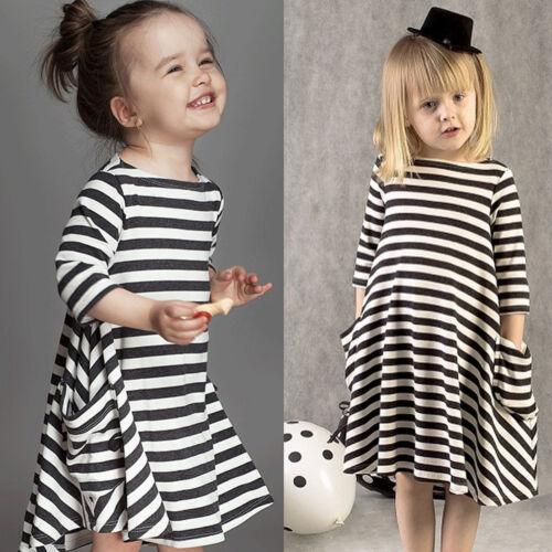 Baby Kids Girls Long Sleeve Loose Striped Princess Cherry Dress Flared Dress