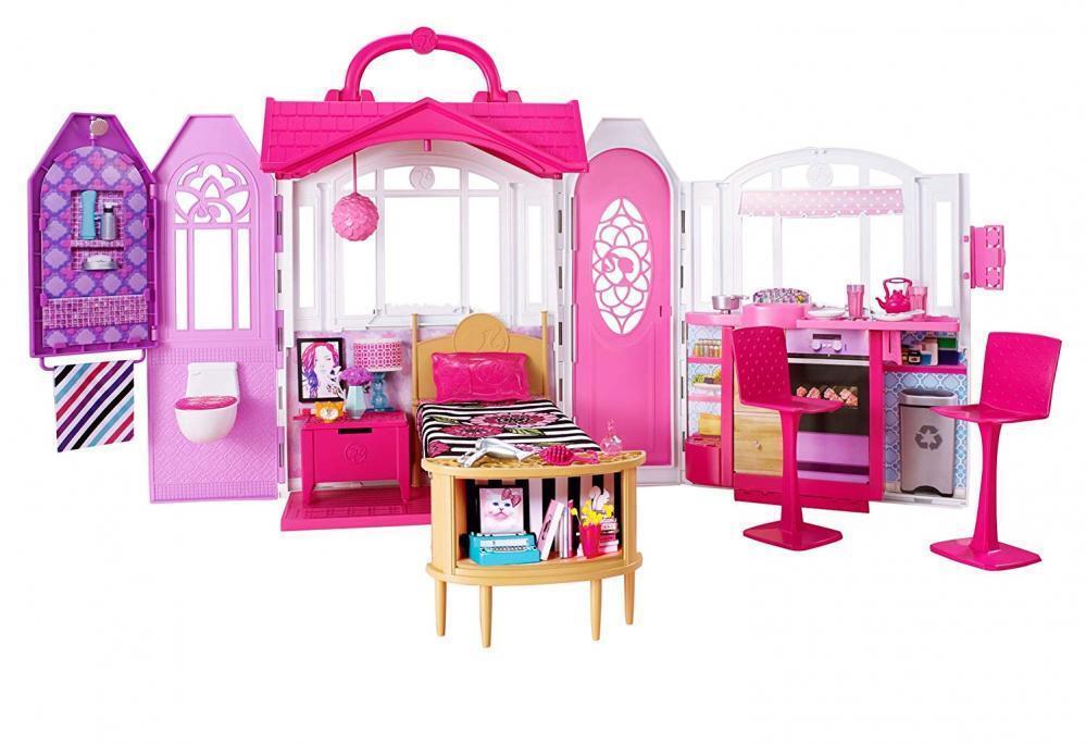 Barbie Glam Getaway House Kitchen Batrummor Sovrum spelaboy Pkonsty spel leksak Gift
