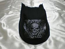 Harley Toms Black &Silver Gothic Skull Doo Rag Chef Hat Do Rag Bandana Skullcap