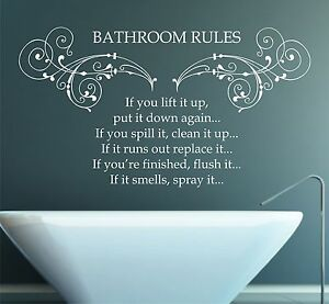 Nice Image Is Loading Bathroom Rules Quote Vinyl Wall Art Sticker Decal  Photo Gallery