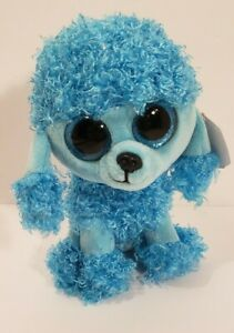 MANDY the Blue Poodle - M Regular Size - 6 inch TY Beanie Boos Glitter Eyes