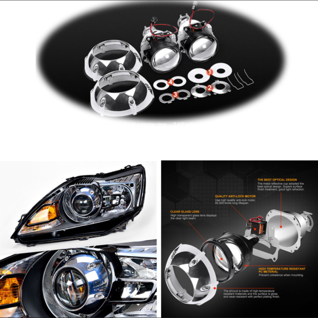 Buy 2pcs Bi Xenon Hid Projector Lens With Silver Shrouds For H4 H7