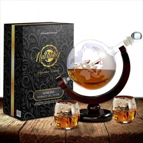 NutriChef NCGDS02 Home Bar Whiskey Globe Decanter Aerator Set w Whiskey Glasses