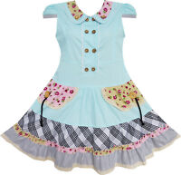 Sunny Fashion Girls Dress Blue Cute Colorful Collar Back School Age 6-14