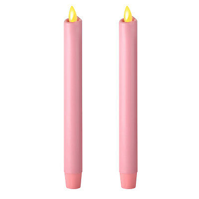 """Ksperway 8/"""" Set of 2 Ivory Unscented Wax Flameless Moving Wick Taper Candles"""