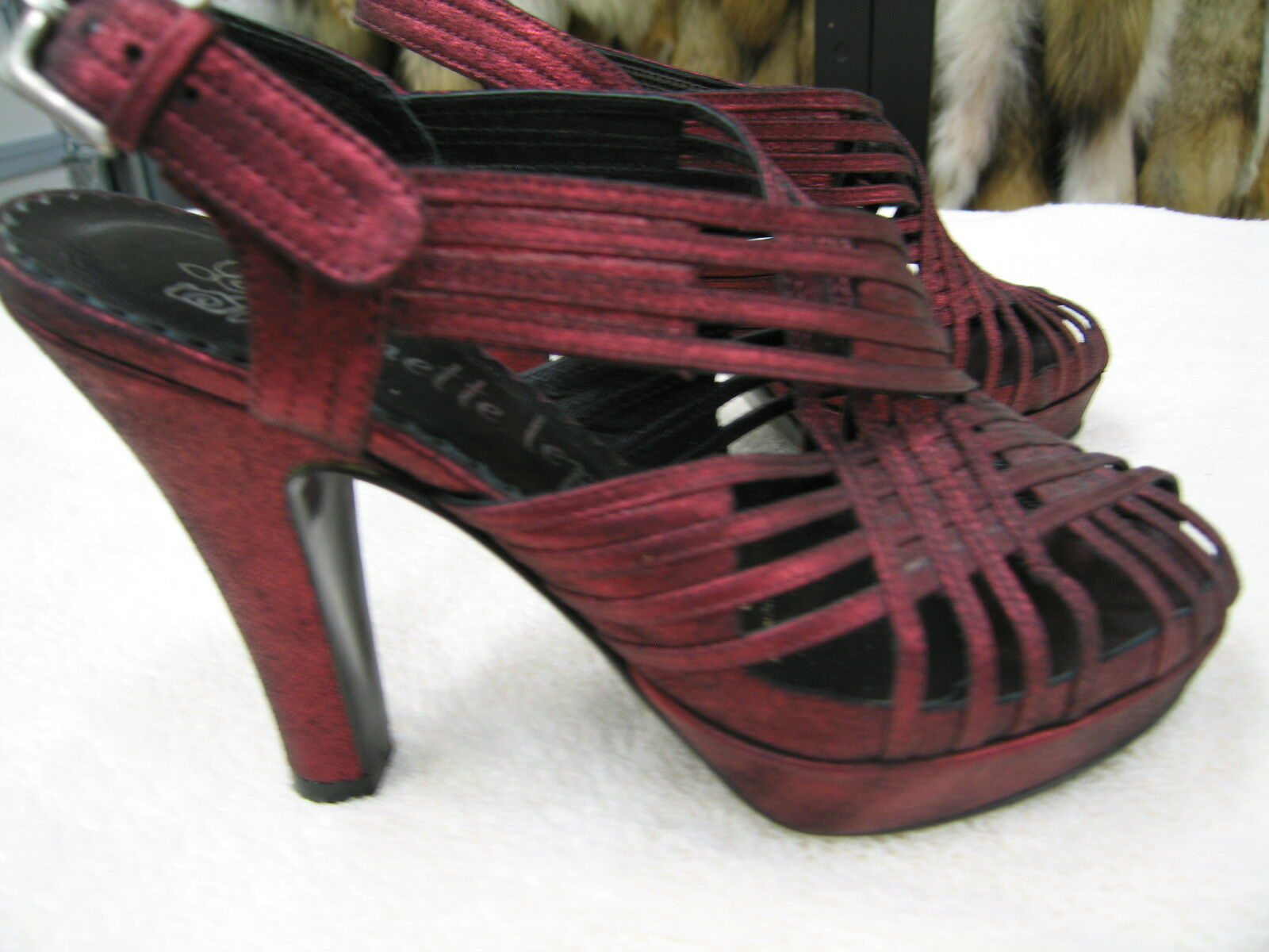 Nanette Lepore Strappy High Heels in Blood Red with a metalic wash Sz 6