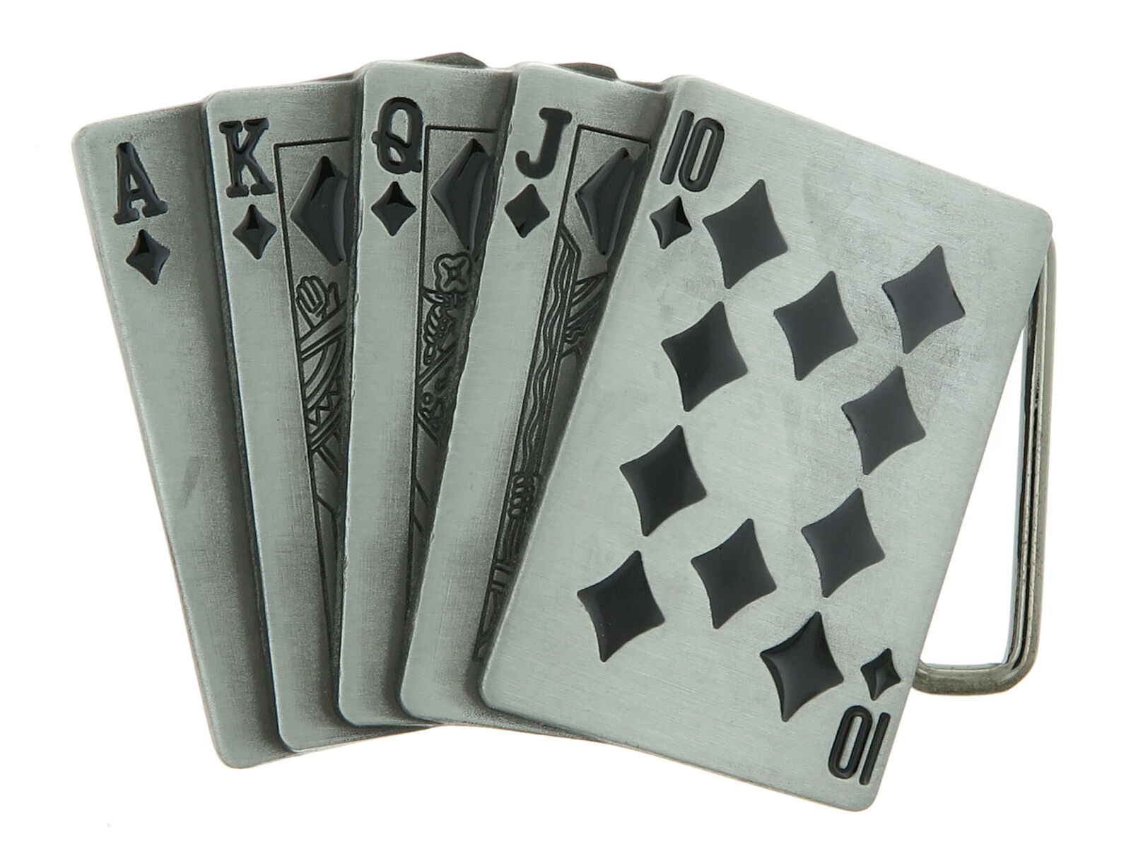 Black Diamonds Royal Straight Flush Casino Gambling Poker Metal Belt Buckle