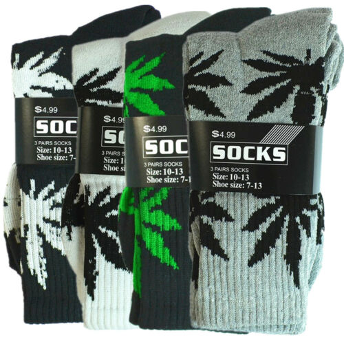 6 Pairs Mens Sports Leaf Weed Marijuana Crew Cotton Long Socks Size 9-11 10-13