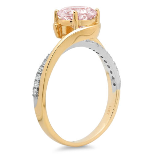 Details about  /1.93 ct Round Pink Stone Promise Bridal Wedding Ring 14k 2 tone Yellow Gold