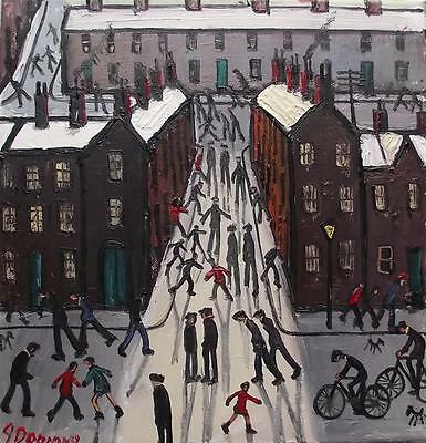 On The Street : Original BEST Oil Painting Famous Artist James Downie