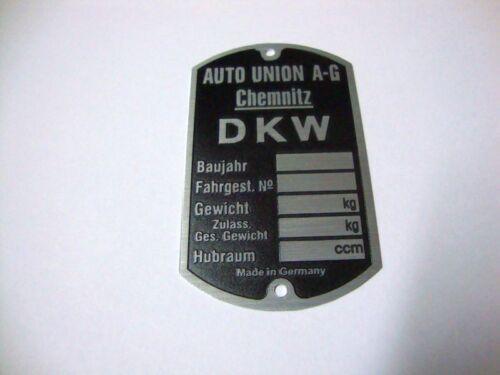 DKW TYPENSCHILD KS KM SB  NZ 200 350 500
