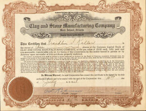 Clay and Stone Manufacturing > 1928 Rock Island Illinois stock certificate