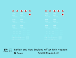 K4-N-Decals-Lehigh-and-New-England-Offset-Twin-Hopper-White-Small-LNE