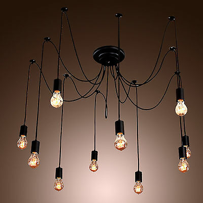 2015 Edison Style 10 Lights Bulb Chandelier Ceiling Light Pendant Lamp Fixture W