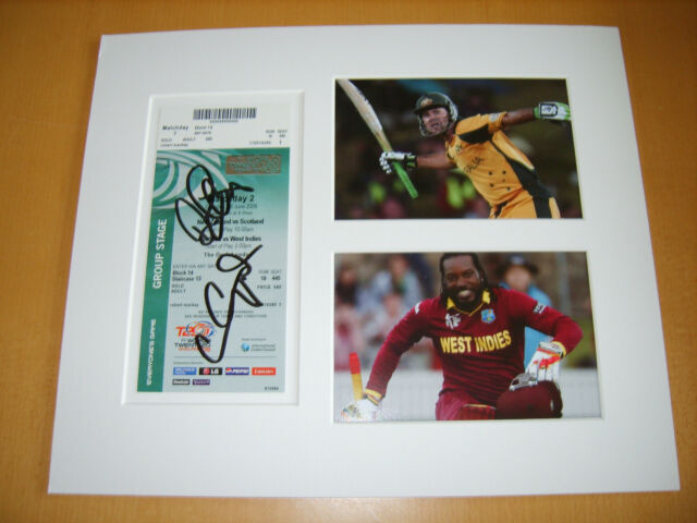 Chris Gayle & Ricky Ponting Genuine signed authentic autographs UACC / AFTAL